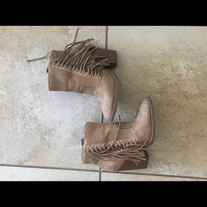 Brown fringe leather imitation booties